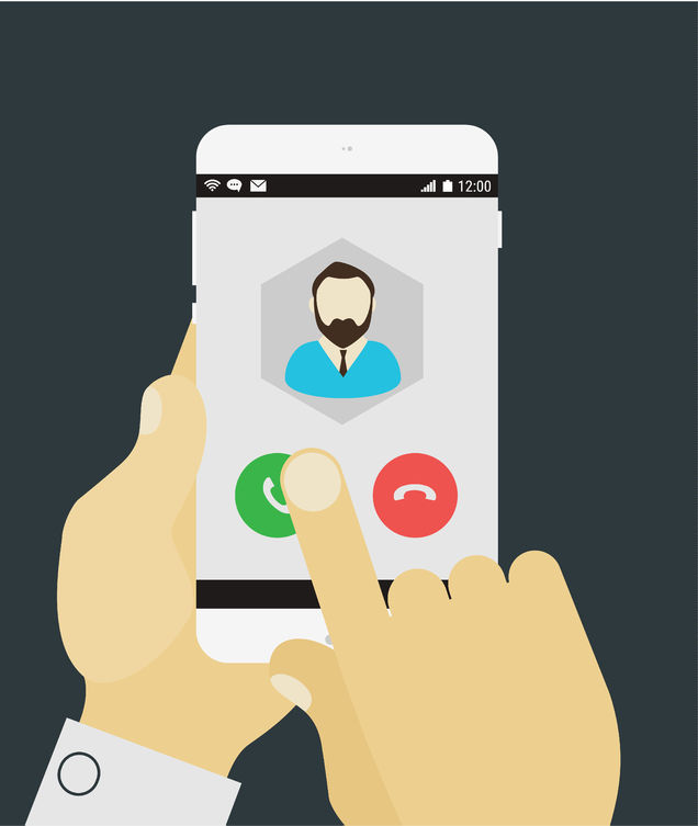41111804 - flat design modern concept with hands holding mobile device with phone call application