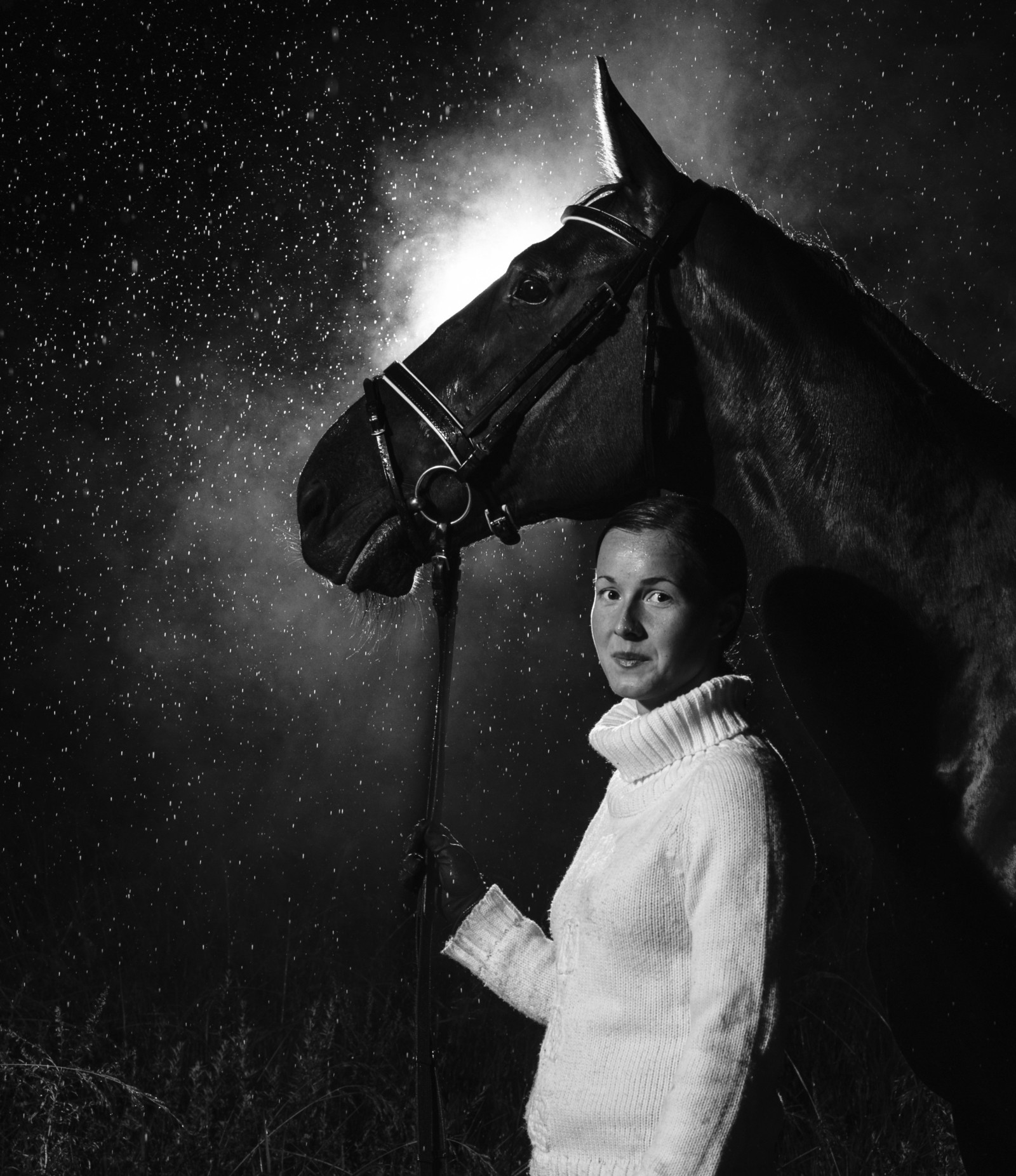 15262477 - smiling woman and horse together in the rain, vertical format