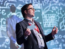 Presenter talking in a training presentation